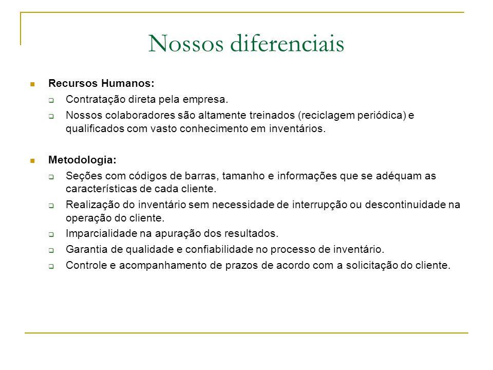 Nossos diferenciais Recursos Humanos: Contratação direta pela empresa.