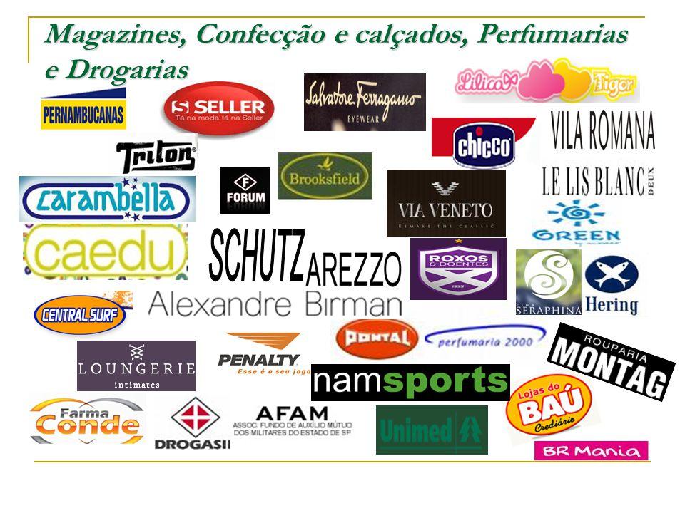 Magazines, Confecção e calçados, Perfumarias e Drogarias