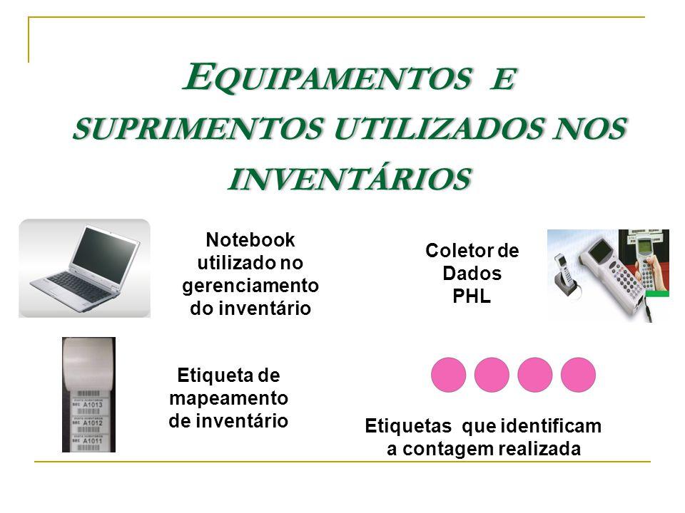 Equipamentos e suprimentos utilizados nos inventários