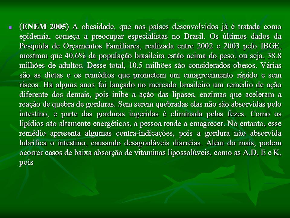 (ENEM 2005) A obesidade, que nos países desenvolvidos já é tratada como epidemia, começa a preocupar especialistas no Brasil.