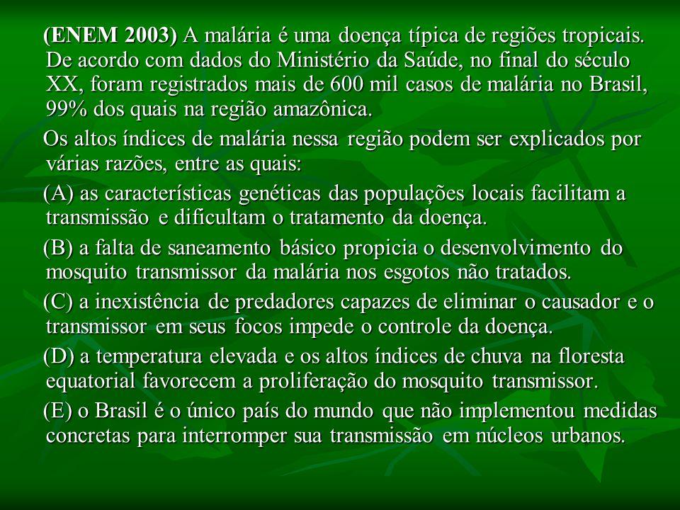 (ENEM 2003) A malária é uma doença típica de regiões tropicais