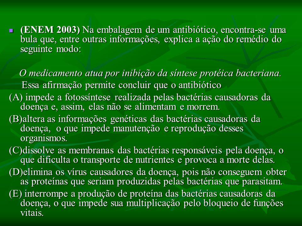 (ENEM 2003) Na embalagem de um antibiótico, encontra-se uma bula que, entre outras informações, explica a ação do remédio do seguinte modo: