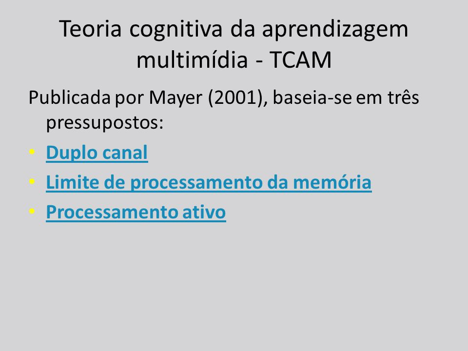 Teoria cognitiva da aprendizagem multimídia - TCAM