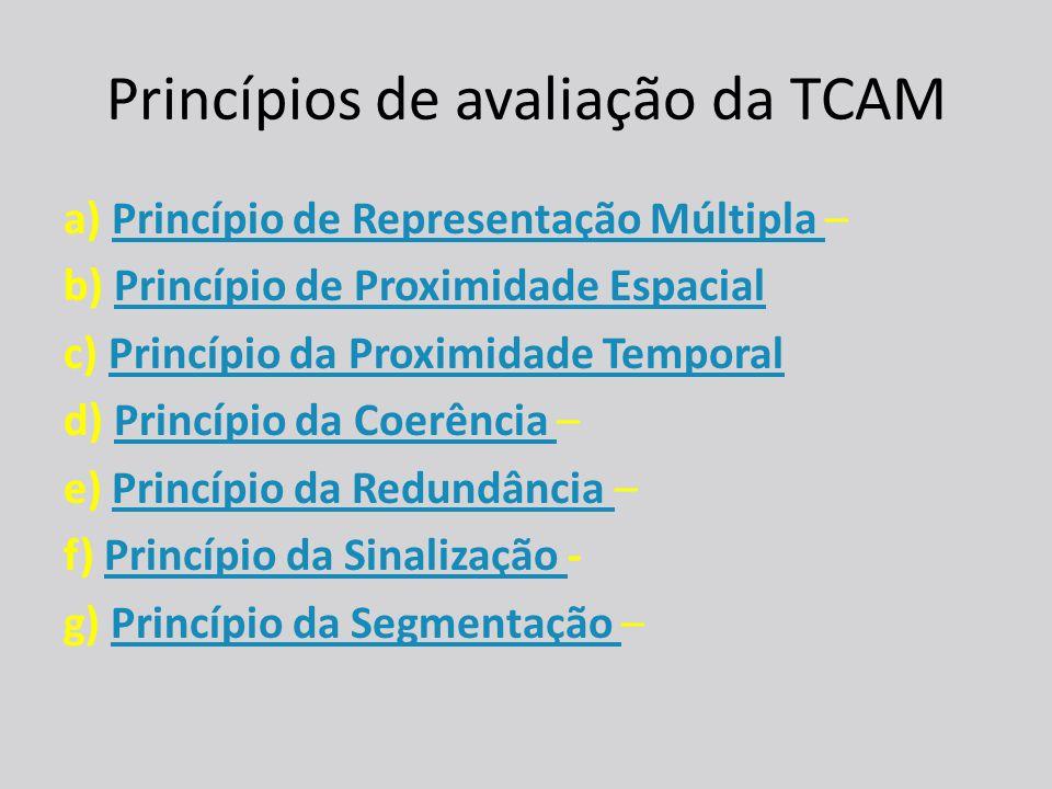 Princípios de avaliação da TCAM