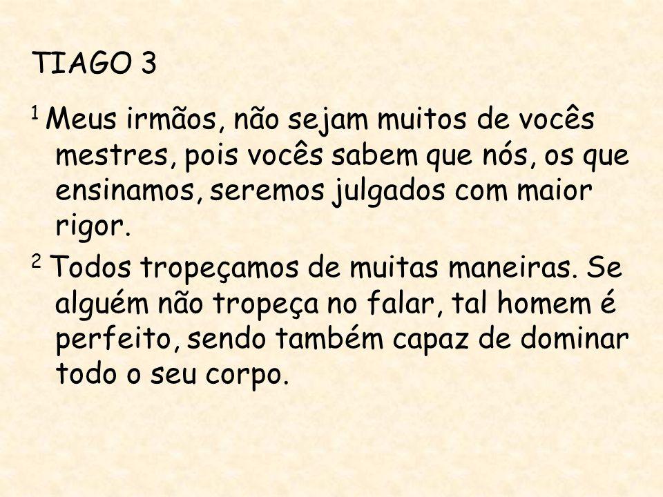 TIAGO 3 1 Meus irmãos, não sejam muitos de vocês mestres, pois vocês sabem que nós, os que ensinamos, seremos julgados com maior rigor.