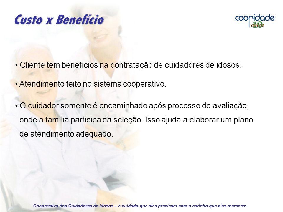 Custo x Benefício Cliente tem benefícios na contratação de cuidadores de idosos. Atendimento feito no sistema cooperativo.