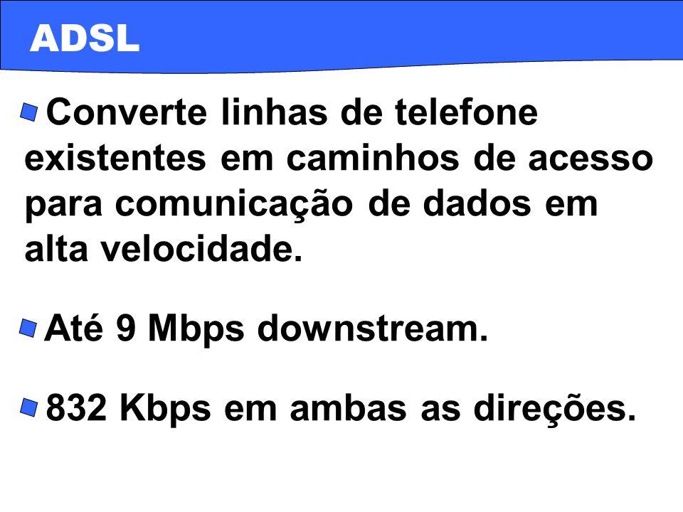 ADSL · Converte linhas de telefone existentes em caminhos de acesso para comunicação de dados em alta velocidade.