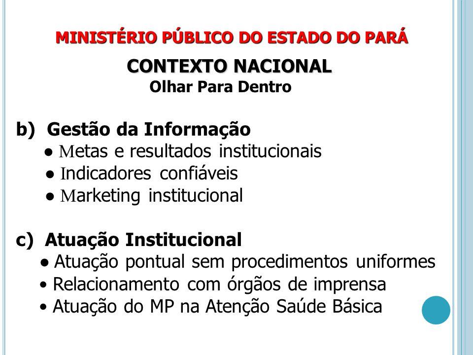 b) Gestão da Informação ● Metas e resultados institucionais