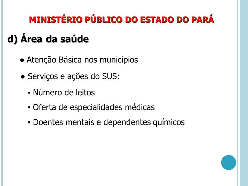 d) Área da saúde MINISTÉRIO PÚBLICO DO ESTADO DO PARÁ