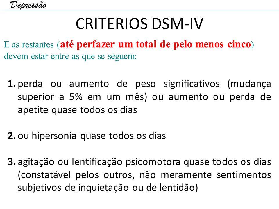 CRITERIOS DSM-IV Depressão