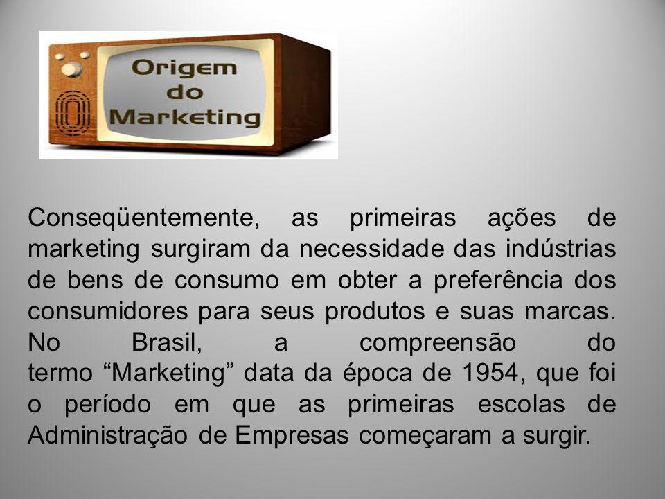 Conseqüentemente, as primeiras ações de marketing surgiram da necessidade das indústrias de bens de consumo em obter a preferência dos consumidores para seus produtos e suas marcas.