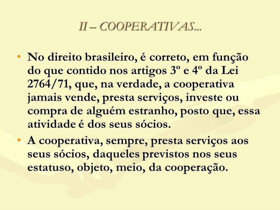 II – COOPERATIVAS...