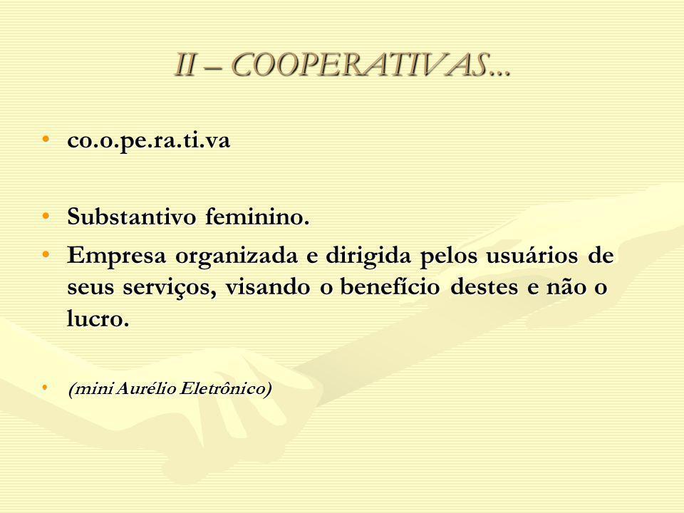 II – COOPERATIVAS... co.o.pe.ra.ti.va Substantivo feminino.