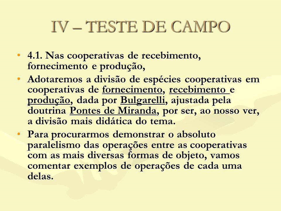 IV – TESTE DE CAMPO 4.1. Nas cooperativas de recebimento, fornecimento e produção,