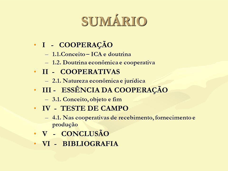 SUMÁRIO I - COOPERAÇÃO II - COOPERATIVAS III - ESSÊNCIA DA COOPERAÇÃO