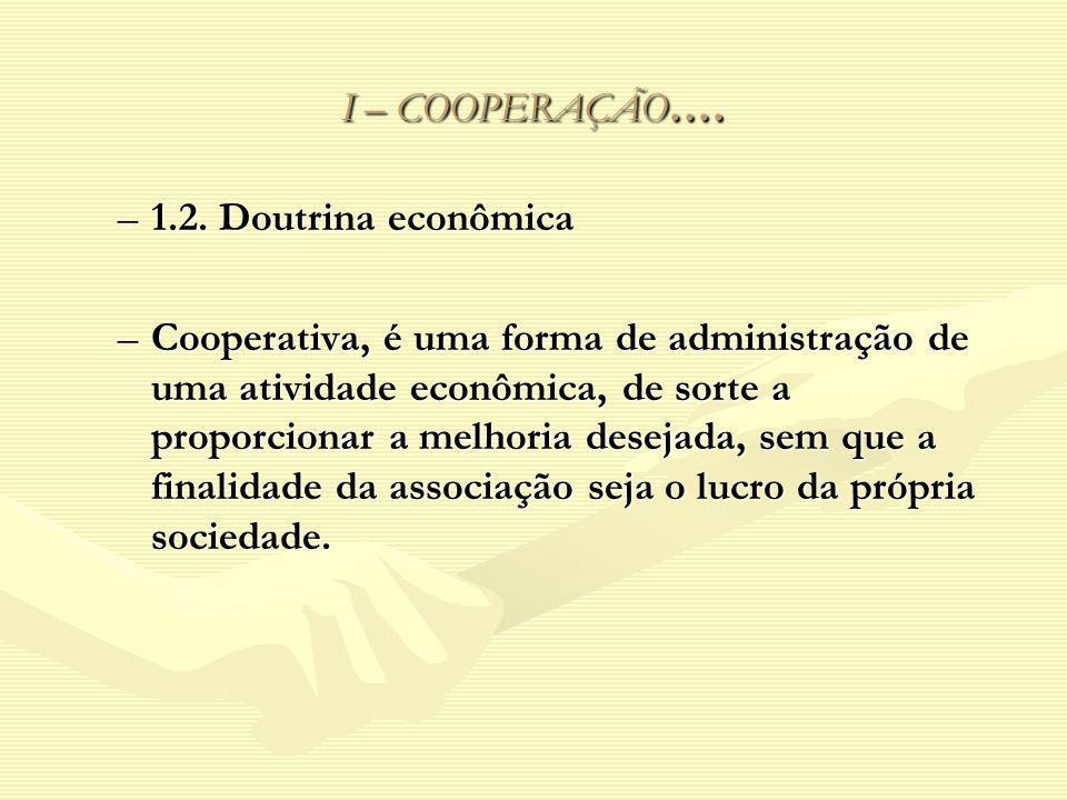 I – COOPERAÇÃO.... 1.2. Doutrina econômica.