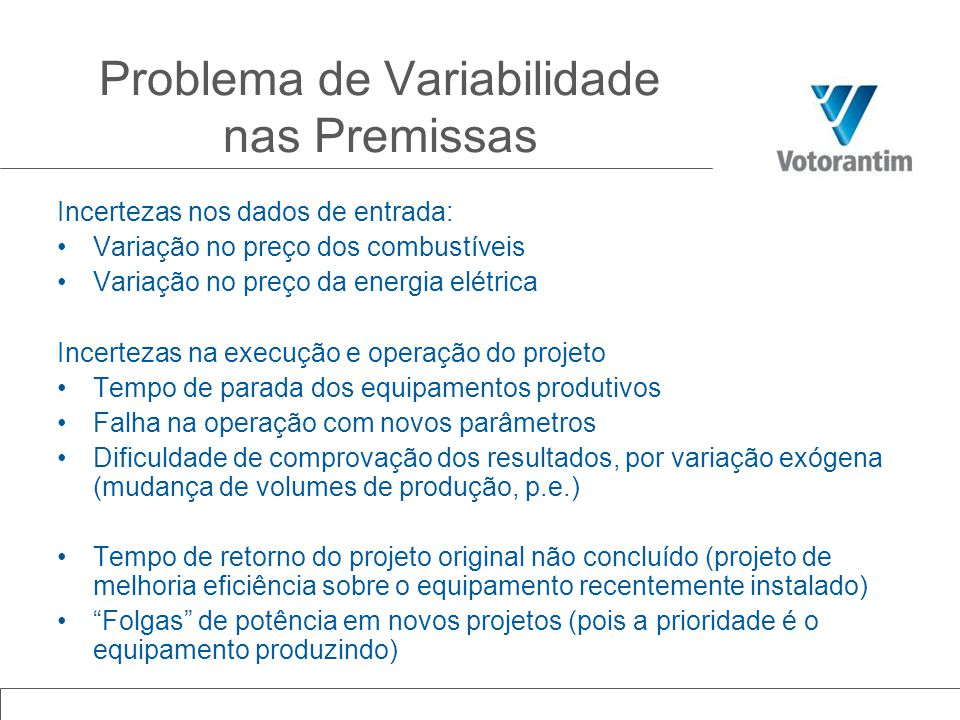 Problema de Variabilidade nas Premissas