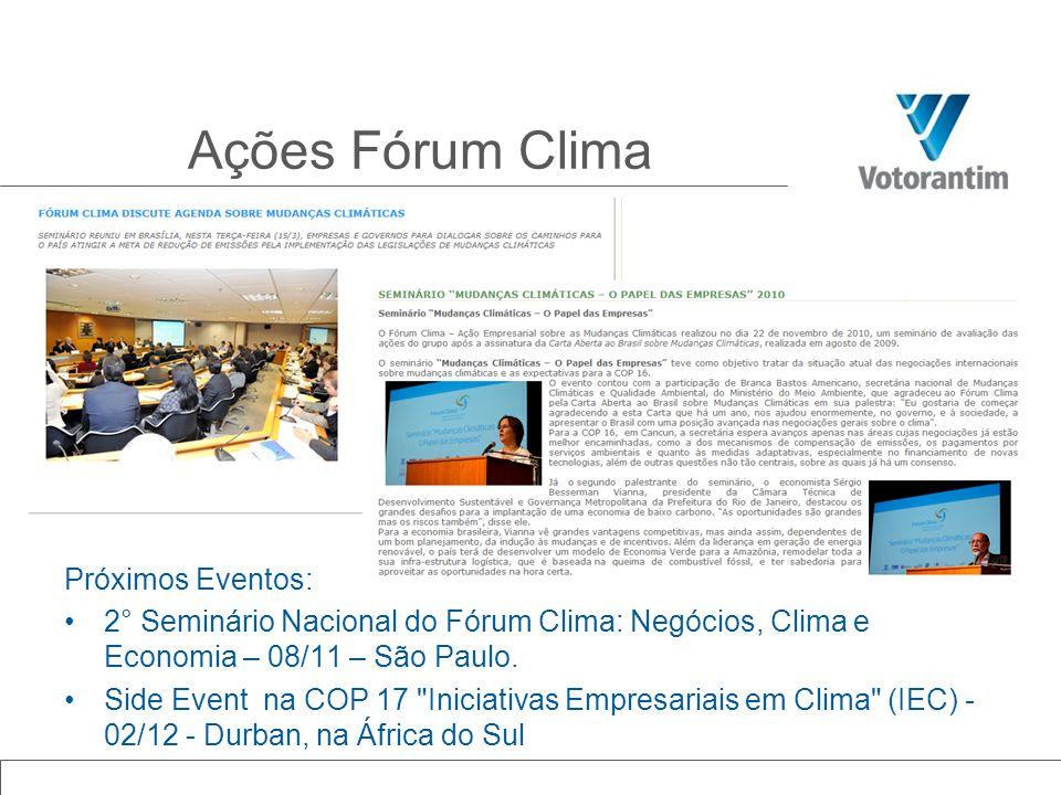 Ações Fórum Clima Próximos Eventos: