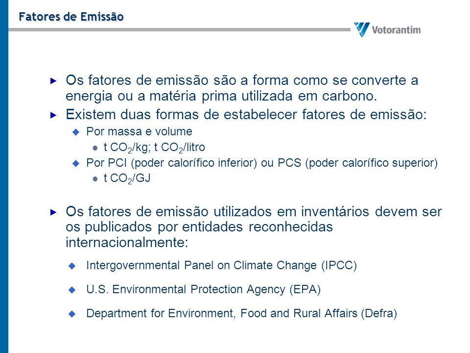 Existem duas formas de estabelecer fatores de emissão: