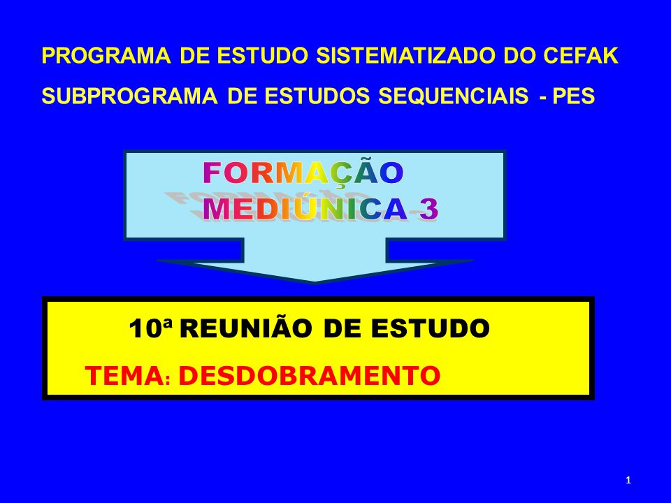 FORMAÇÃO MEDIÚNICA 3 10ª REUNIÃO DE ESTUDO TEMA: DESDOBRAMENTO