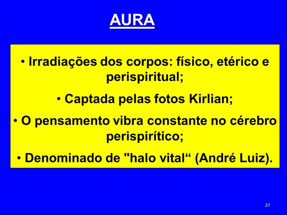 AURA Irradiações dos corpos: físico, etérico e perispiritual;