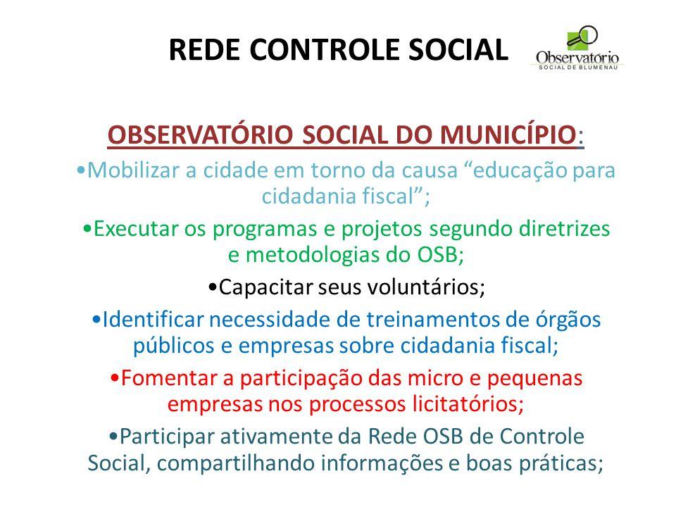 REDE CONTROLE SOCIAL OBSERVATÓRIO SOCIAL DO MUNICÍPIO:
