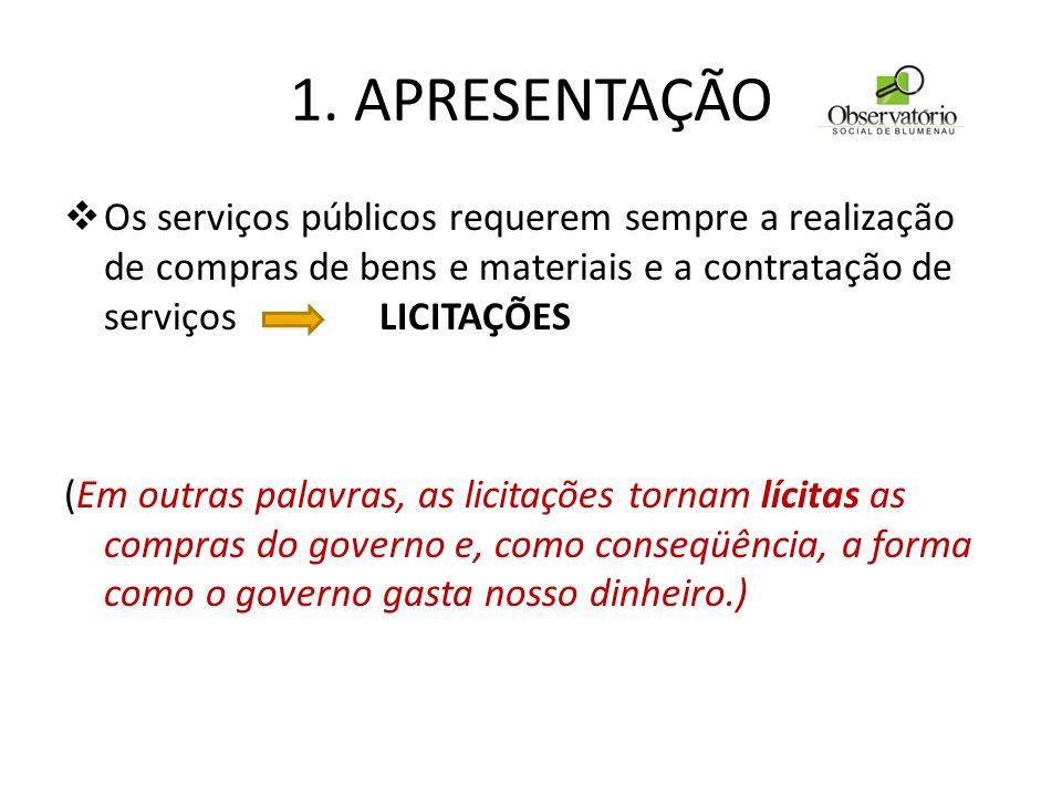 1. APRESENTAÇÃO Os serviços públicos requerem sempre a realização de compras de bens e materiais e a contratação de serviços LICITAÇÕES.