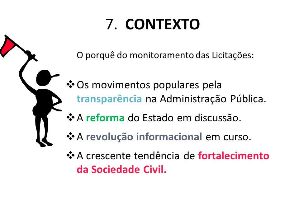 7. CONTEXTO O porquê do monitoramento das Licitações: Os movimentos populares pela transparência na Administração Pública.