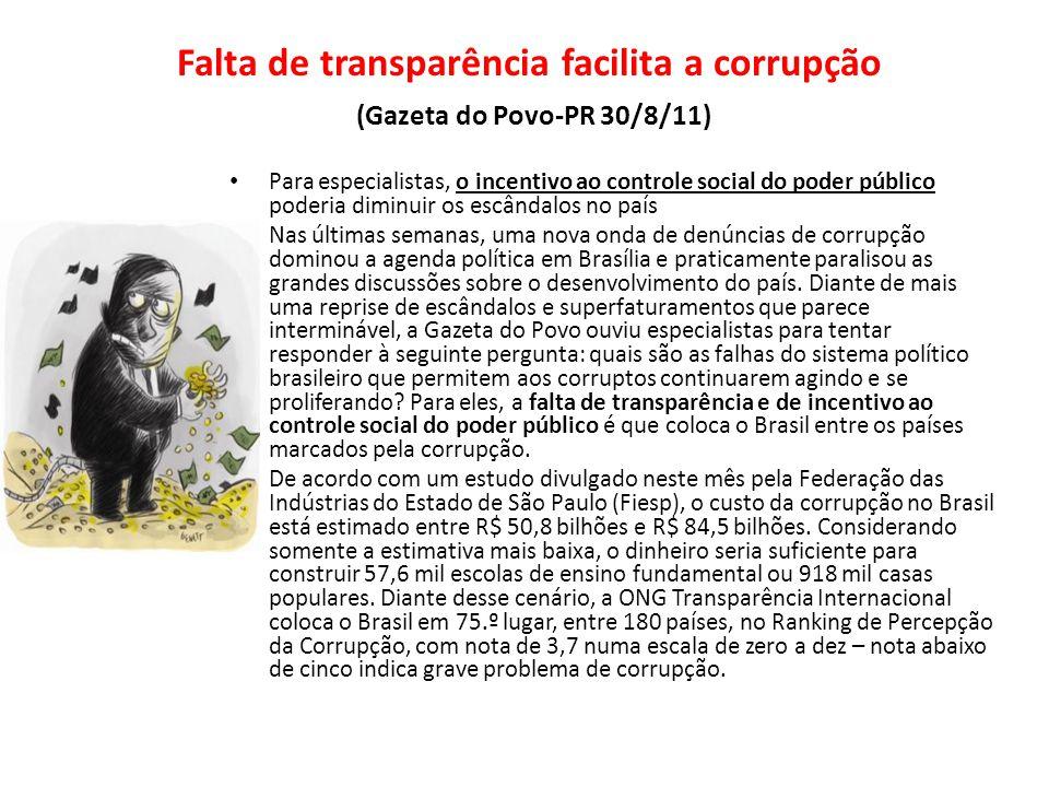 Falta de transparência facilita a corrupção (Gazeta do Povo-PR 30/8/11)