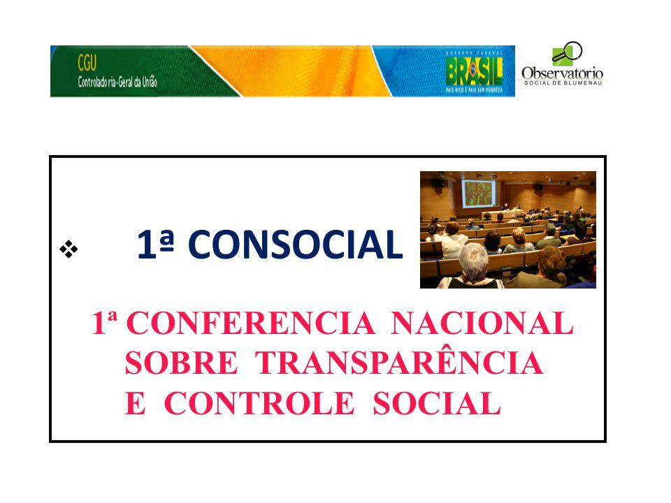 1ª CONFERENCIA NACIONAL SOBRE TRANSPARÊNCIA E CONTROLE SOCIAL