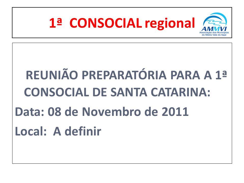 REUNIÃO PREPARATÓRIA PARA A 1ª CONSOCIAL DE SANTA CATARINA: