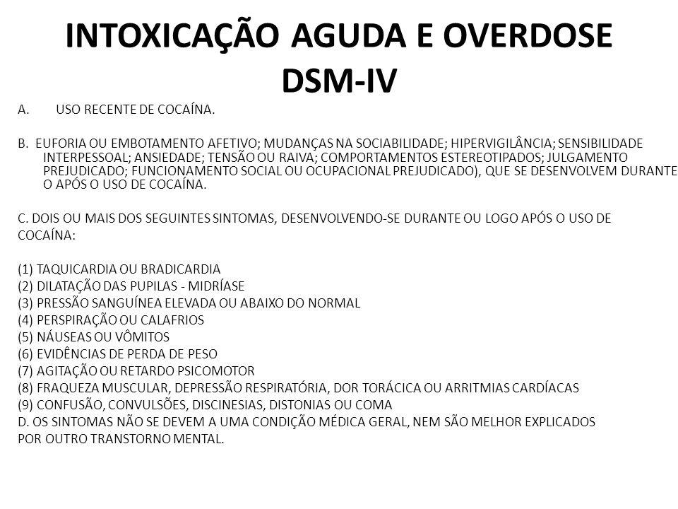 INTOXICAÇÃO AGUDA E OVERDOSE DSM-IV