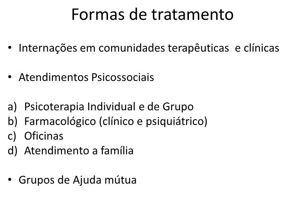Formas de tratamento Internações em comunidades terapêuticas e clínicas. Atendimentos Psicossociais.