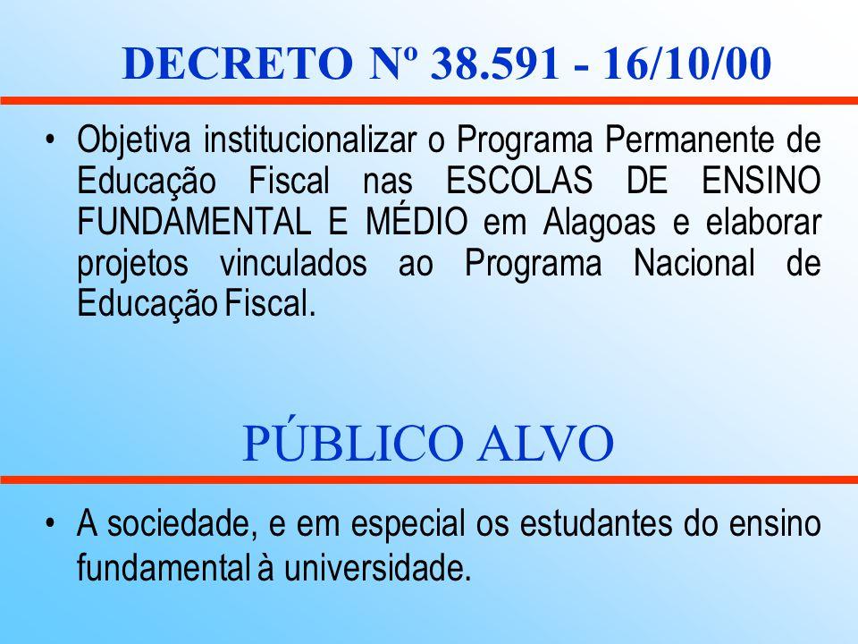 PÚBLICO ALVO DECRETO Nº 38.591 - 16/10/00