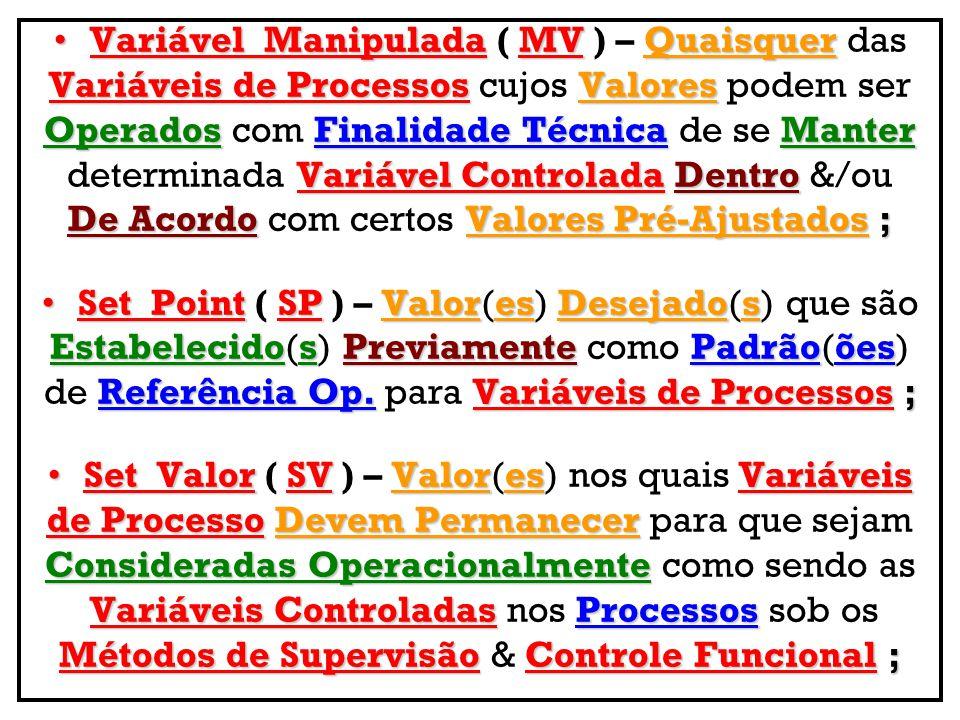 Variável Manipulada ( MV ) – Quaisquer das