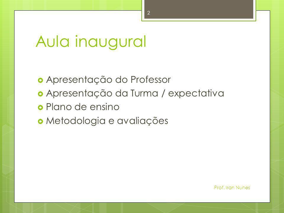Aula inaugural Apresentação do Professor