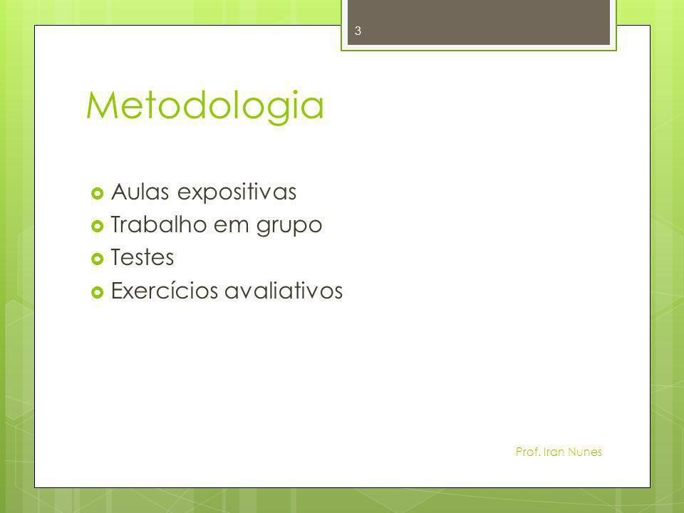 Metodologia Aulas expositivas Trabalho em grupo Testes