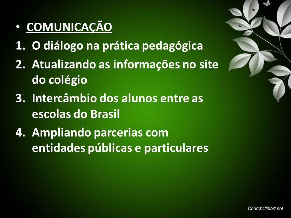 COMUNICAÇÃO O diálogo na prática pedagógica. Atualizando as informações no site do colégio. Intercâmbio dos alunos entre as escolas do Brasil.