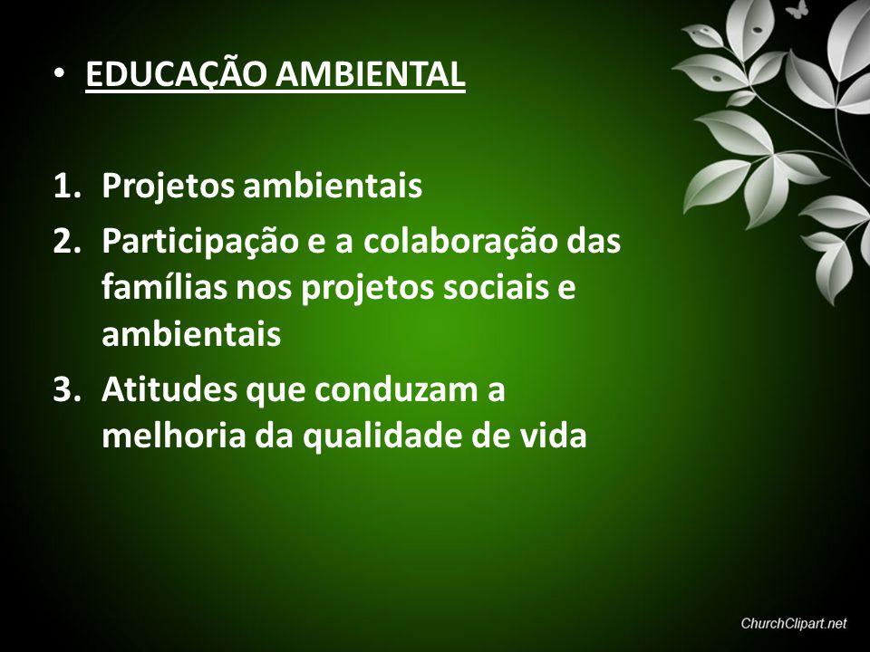 EDUCAÇÃO AMBIENTAL Projetos ambientais. Participação e a colaboração das famílias nos projetos sociais e ambientais.