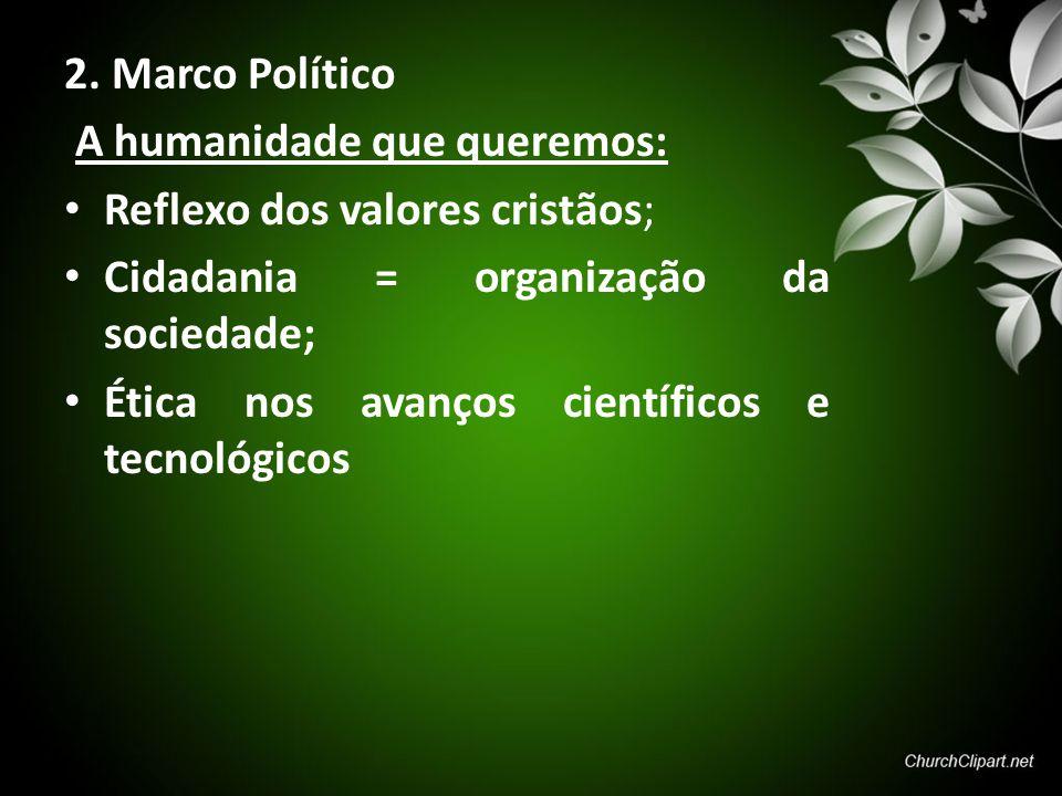 2. Marco Político A humanidade que queremos: Reflexo dos valores cristãos; Cidadania = organização da sociedade;