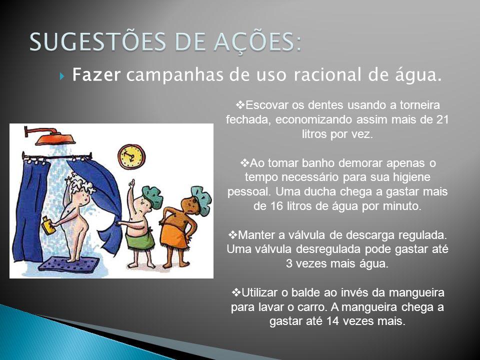 SUGESTÕES DE AÇÕES: Fazer campanhas de uso racional de água.