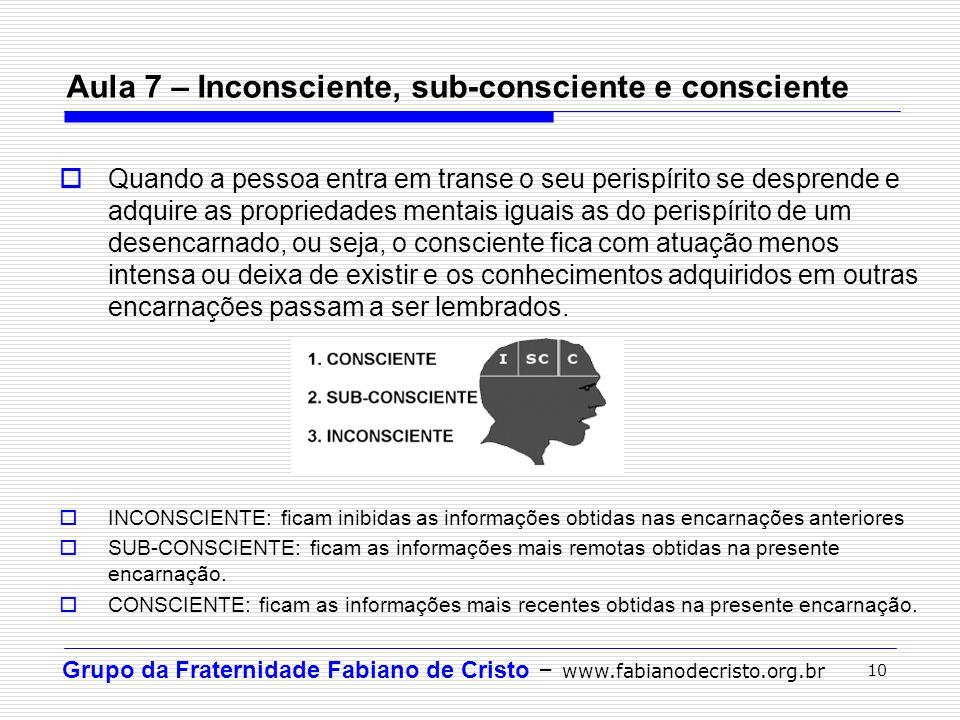 Aula 7 – Inconsciente, sub-consciente e consciente