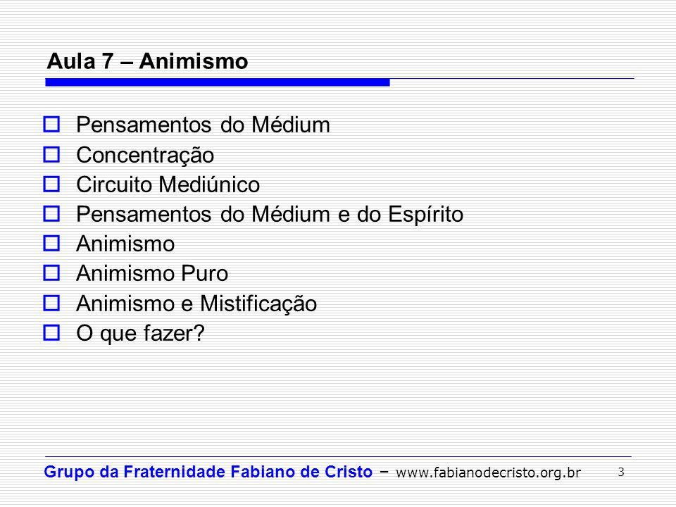 Aula 7 – Animismo Pensamentos do Médium. Concentração. Circuito Mediúnico. Pensamentos do Médium e do Espírito.