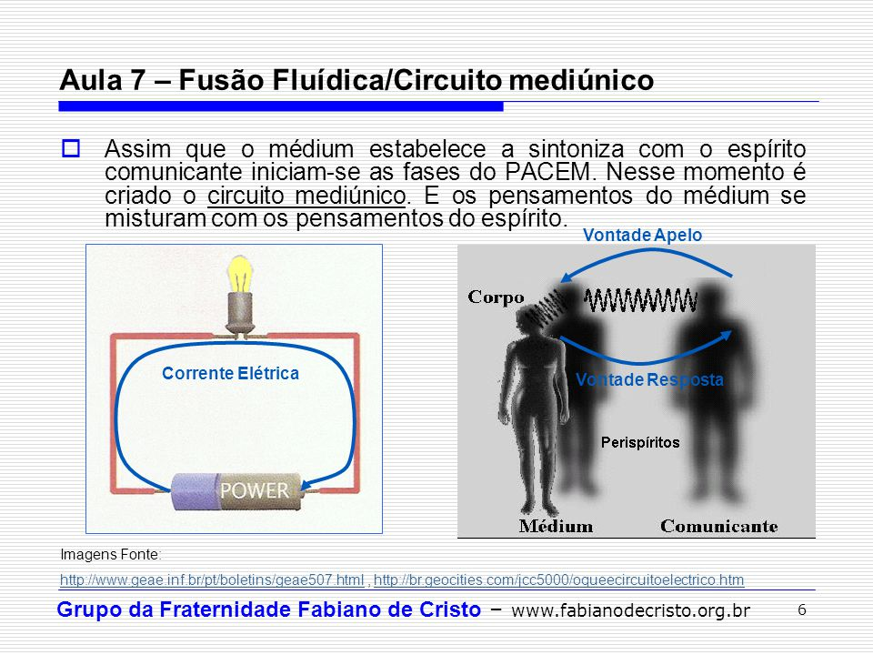 Aula 7 – Fusão Fluídica/Circuito mediúnico