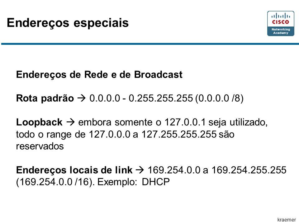 Endereços especiais Endereços de Rede e de Broadcast