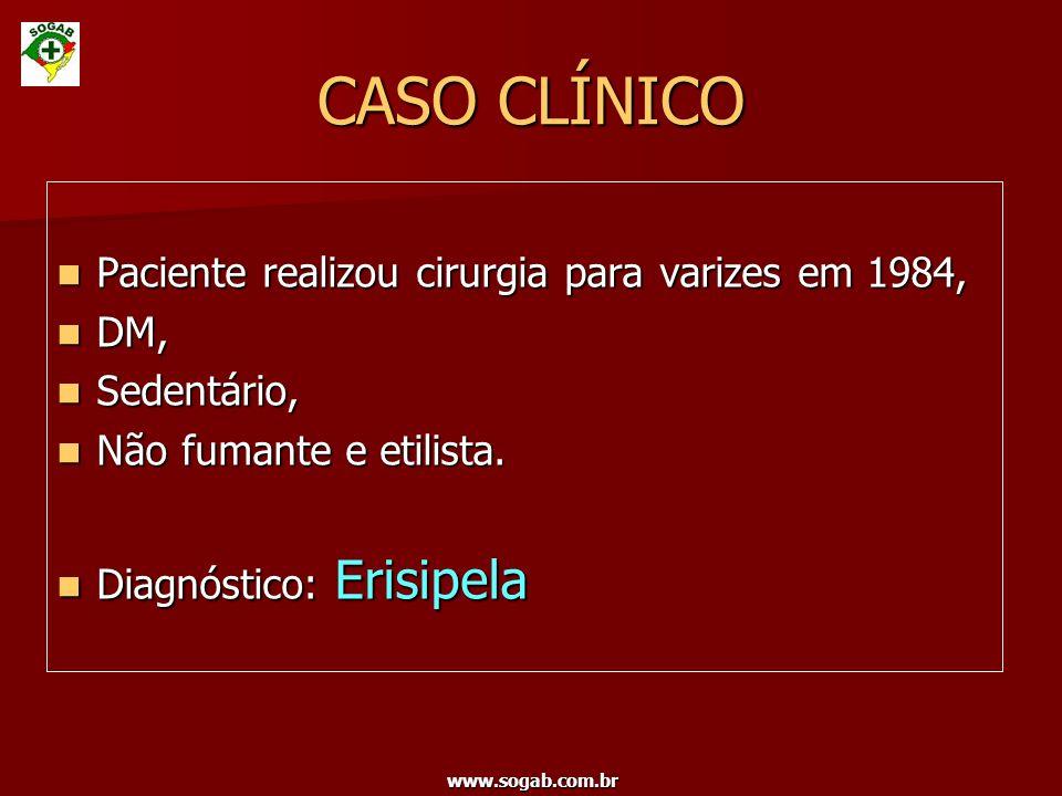 CASO CLÍNICO Paciente realizou cirurgia para varizes em 1984, DM,