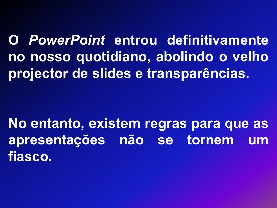 O PowerPoint entrou definitivamente no nosso quotidiano, abolindo o velho projector de slides e transparências.