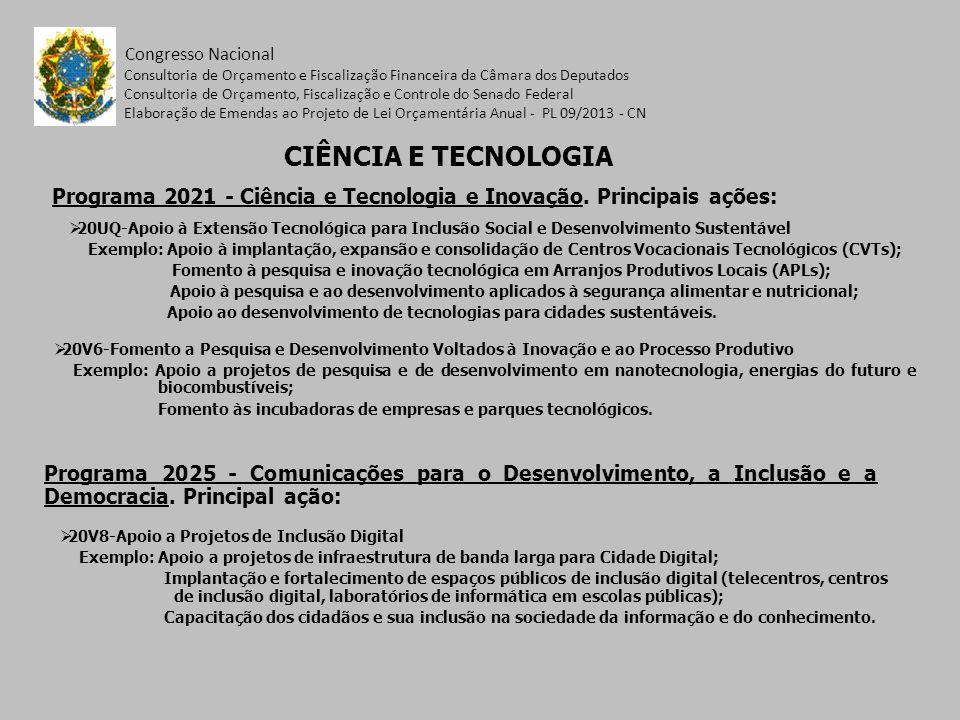 Programa 2021 - Ciência e Tecnologia e Inovação. Principais ações: