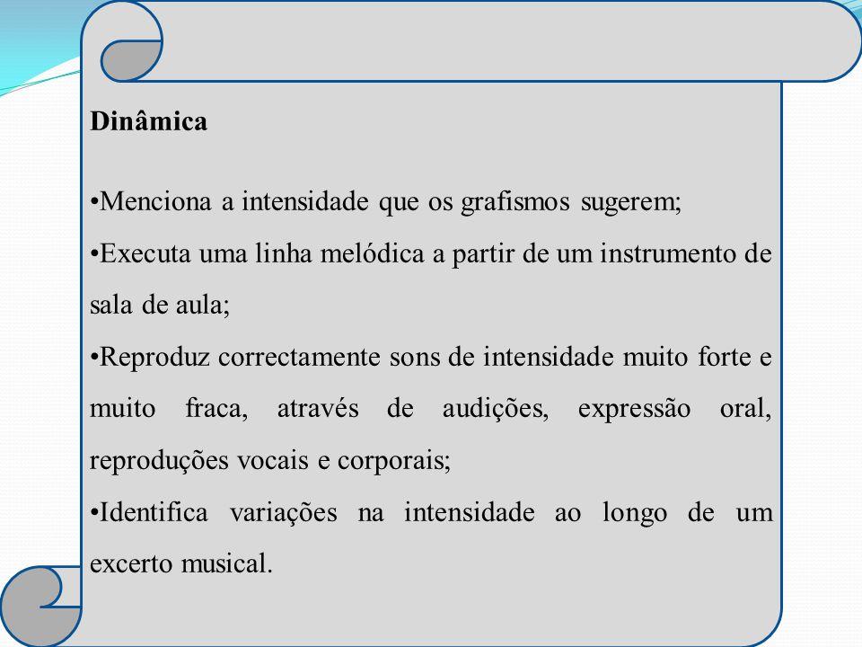 Dinâmica Menciona a intensidade que os grafismos sugerem; Executa uma linha melódica a partir de um instrumento de sala de aula;
