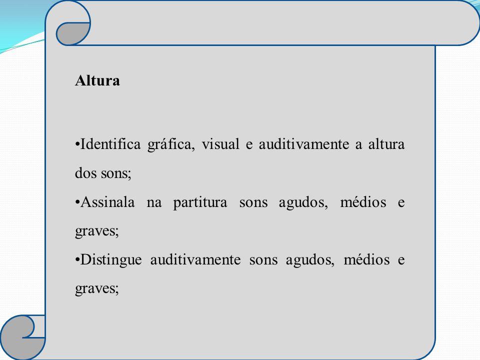 Altura Identifica gráfica, visual e auditivamente a altura dos sons; Assinala na partitura sons agudos, médios e graves;